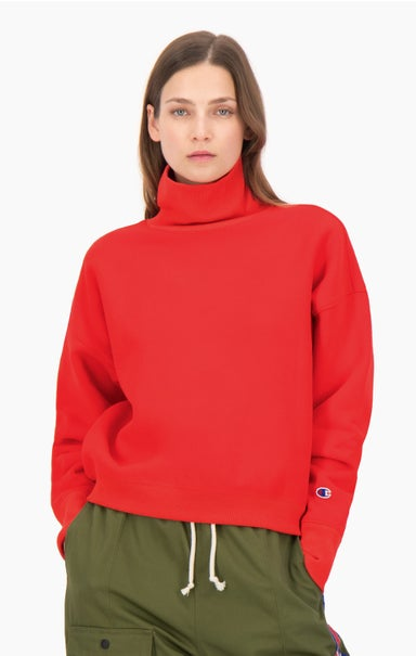 Roll Neck Reverse Weave Sweatshirt