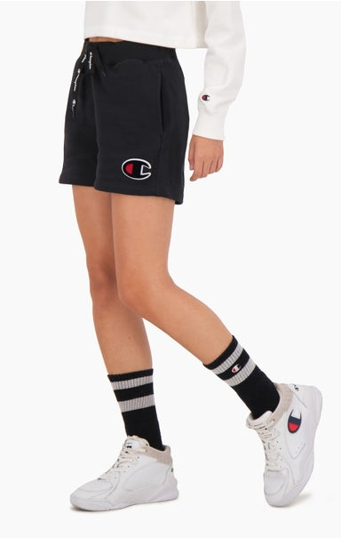 C Logo Patch High Waist Cotton Terry Shorts