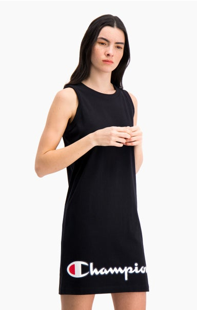 Script Logo Ribbed Trim Tank Midi Dress