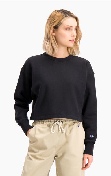Cropped Reverse Weave Logo Neck Sweatshirt