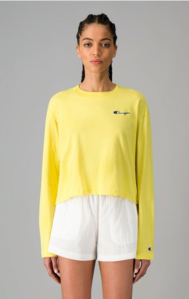 Ribbed Neck Long Sleeve Jersey Top