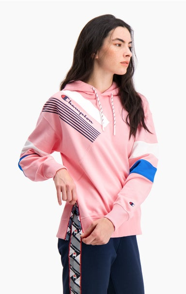 Graphic Stripe And Colour Block Hoodie