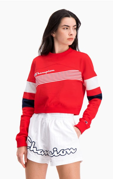 Graphic Stripe And Colour Block Cropped Sweatshirt