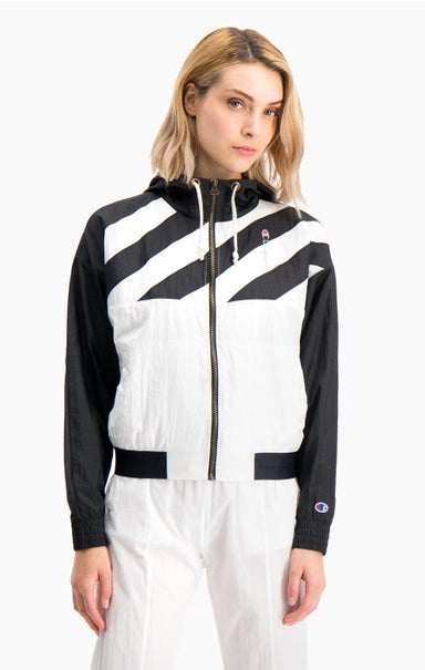 Diagonal Stripe Hooded Rain Jacket