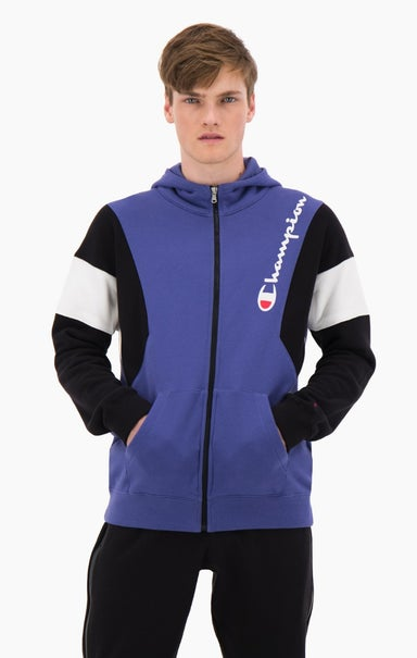 Zip-Up Colour Block Cotton Terry Hooded Jacket