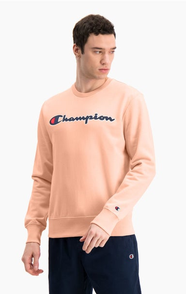 Satin Script Logo Cotton Terry Sweatshirt