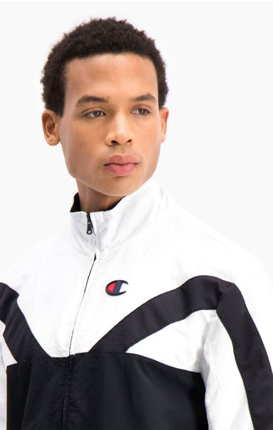 Zip-Up Colour Block And Stripe Track Jacket