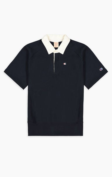 Short Sleeve Reverse Weave Polo Sweatshirt