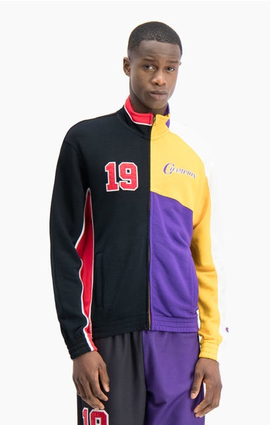 "NBMIX Basketball-Trainingsjacke im Patchwork-Look mit ""Champion 19""-Logo"