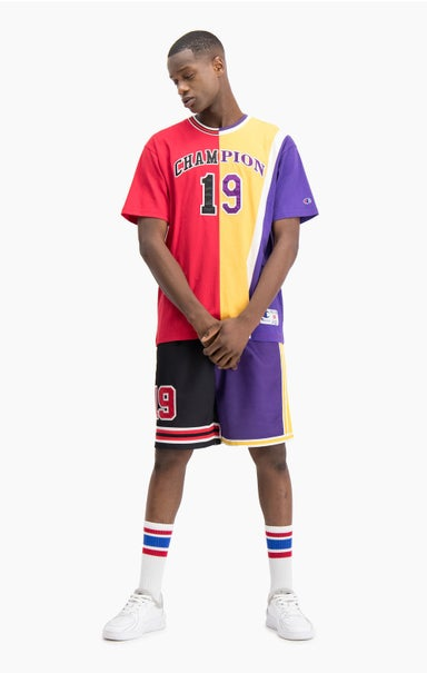 "NBMIX Basketball-T-Shirt im Patchwork-Look mit ""Champion 19""-Logo"
