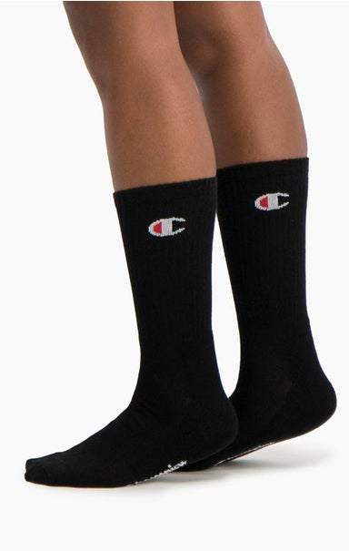 3 Pack C Logo Patch Ribbed Crew Socks