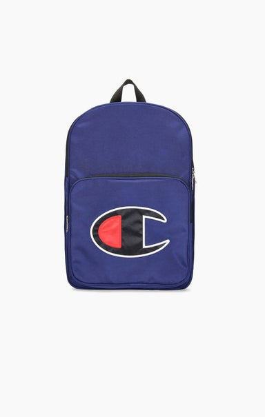 Satin C Logo Patch Zipped Backpack